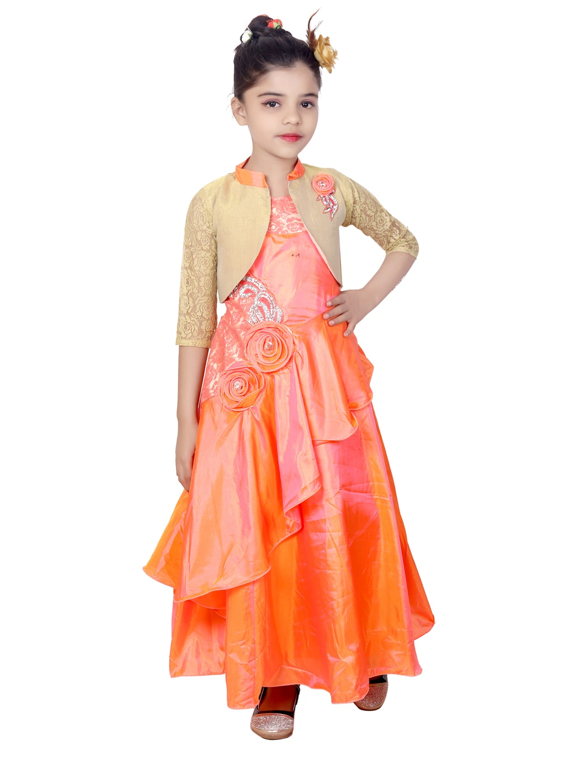 Buy Orange Silk Blend Gown by Kbkidswear - Online shopping for Party ...