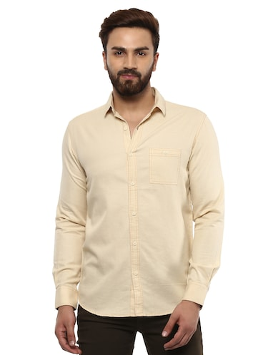 beige cotton casual shirt - 14997409 - Standard Image - 1