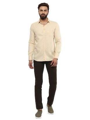 beige cotton casual shirt - 14997409 - Standard Image - 4