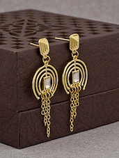 gold brass drop earring -  online shopping for Earrings