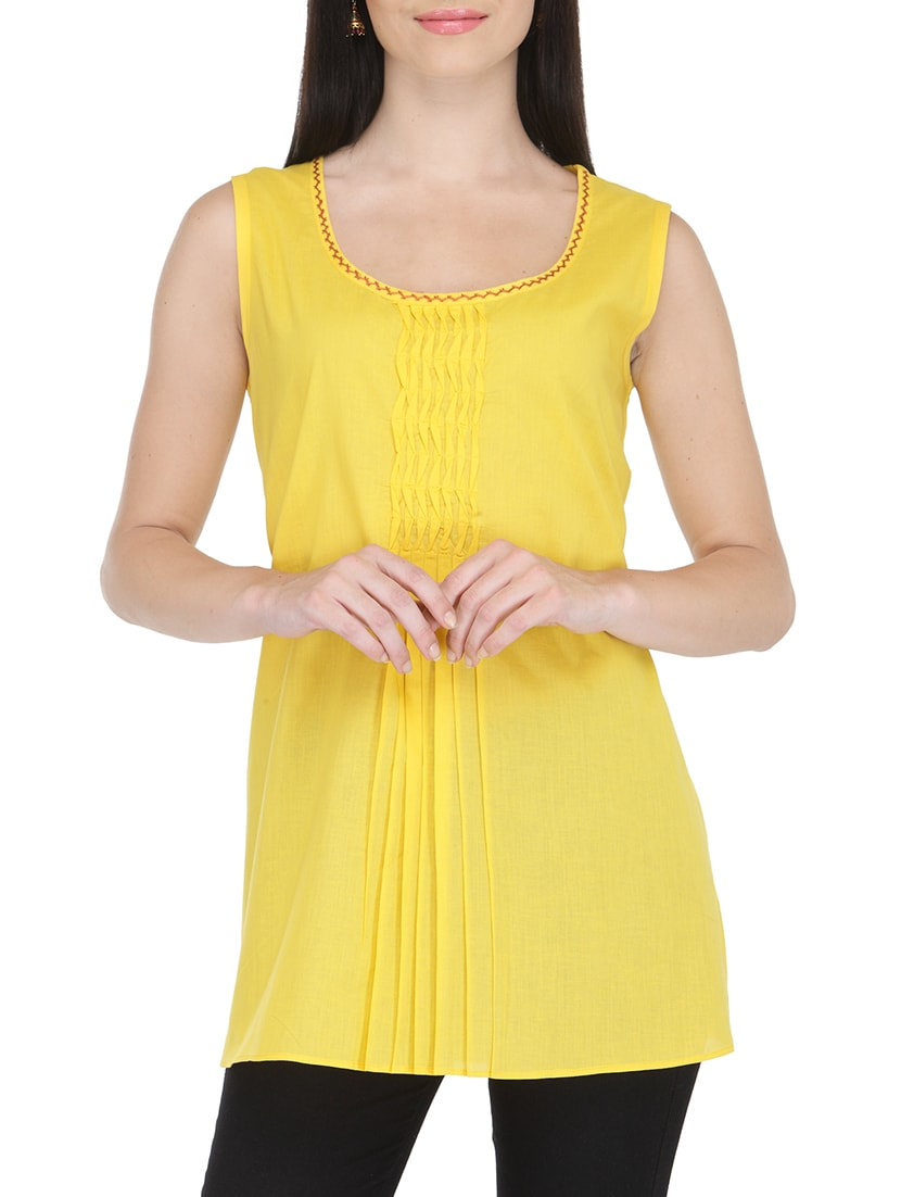 b2cea23b5b5 Buy Fuchsia Designs Yellow Cotton Straight Kurti for Women from Fuchsia  Designs for ₹600 at 24% off