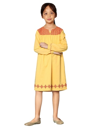 yellow cotton frock - 15000007 - Standard Image - 4