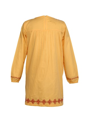 yellow cotton frock - 15000007 - Standard Image - 7