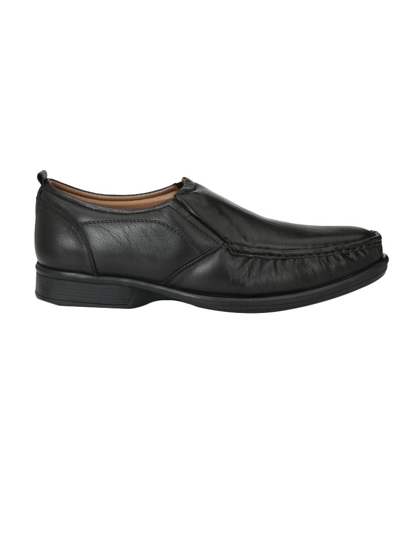 Buy online Black Leather Formal Slip On