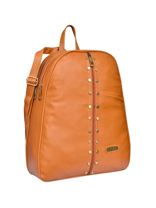 tan leatherette  regular backpack - 15002326 - Standard Image - 4