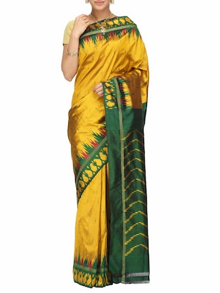 mustard silk pochampalli saree with blouse -  online shopping for Sarees