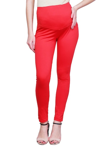 red solid maternity wear leggings - 15007932 - Standard Image - 1