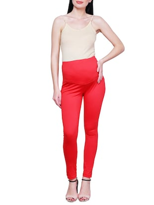 red solid maternity wear leggings - 15007932 - Standard Image - 4