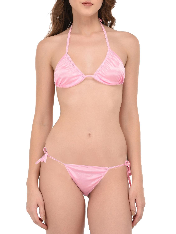 Pink satin bikini