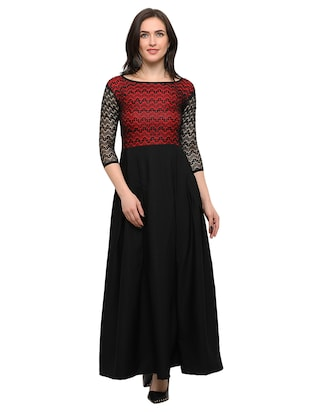 black solid crepe maxi dress - online shopping for Dresses