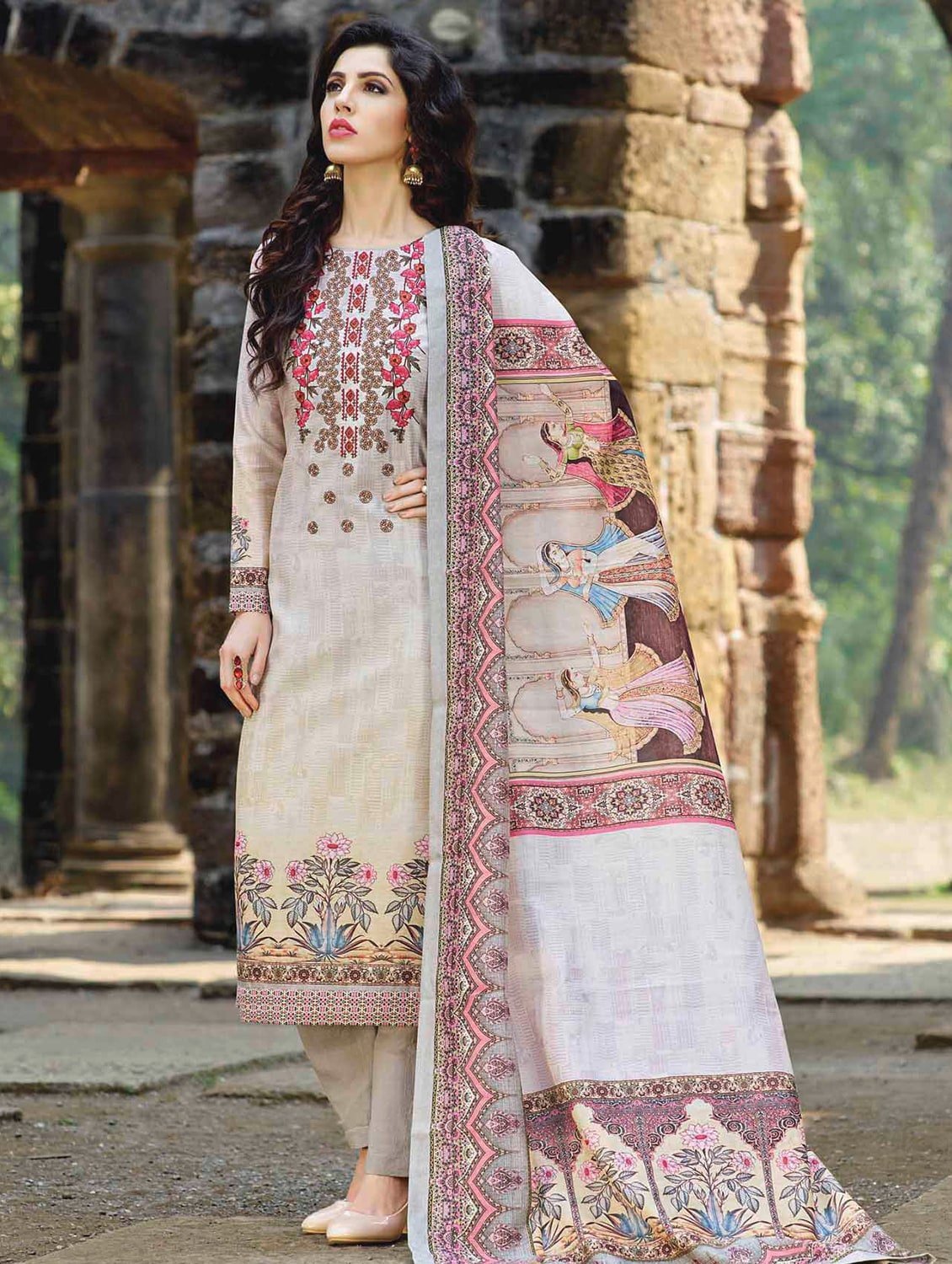 0e375b804b0 Buy Beige Straight Pant Suits Semi-stitched Suit by Aadya Couture - Online  shopping for Semi-stitched Suits in India