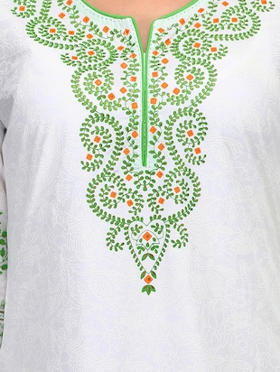 white cotton straight kurta - 15011424 - Standard Image - 4