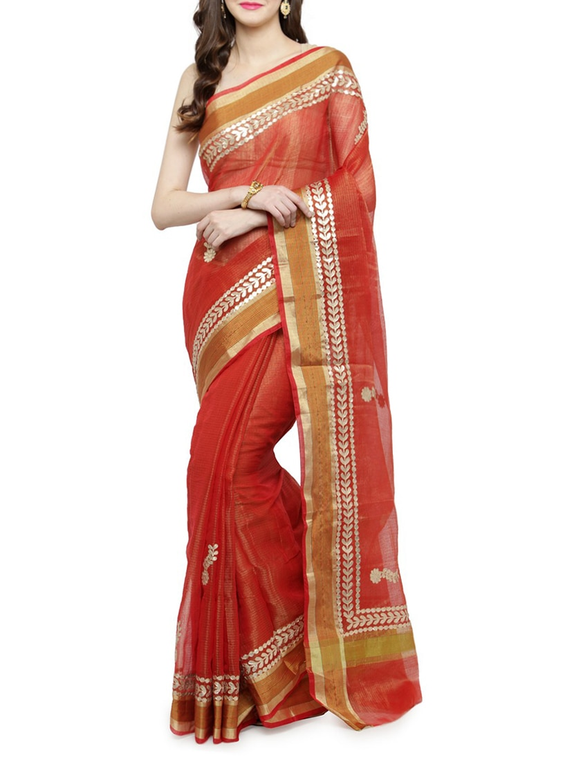 f8257c528faeb8 Buy Red Tussar Silk Gota Patti Saree With Blouse for Women from Geroo  Jaipur for ₹2724 at 53% off
