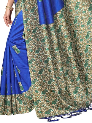 blue silk blend mysore saree with blouse - 15012713 - Standard Image - 4