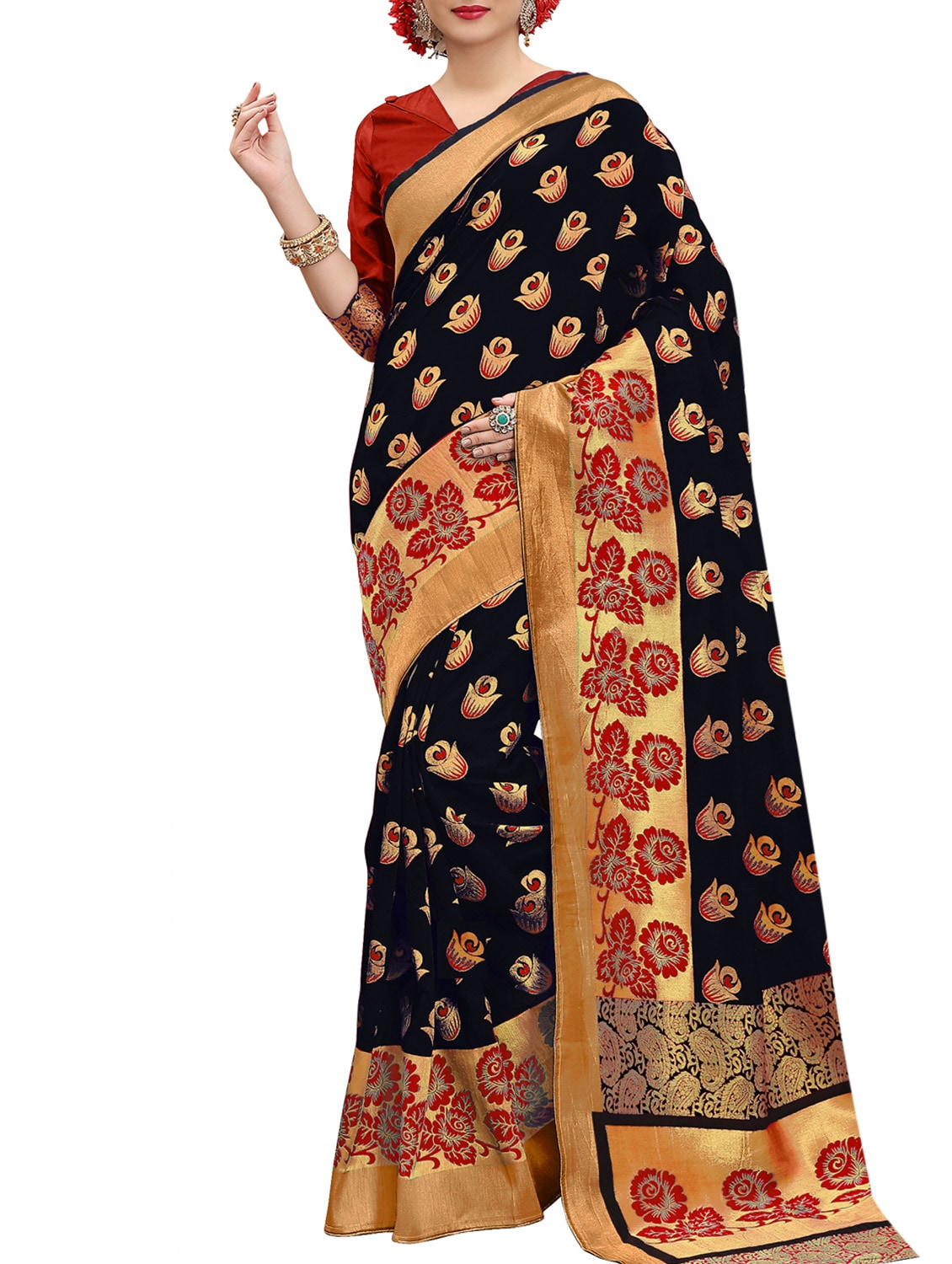 a5f5578994891 Buy Black Banarasi Silk Saree With Blouse for Women from Genius Creation  for ₹2198 at 62% off