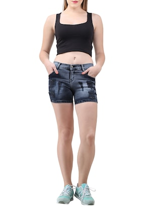 blue solid denim shorts - 15013214 - Standard Image - 4