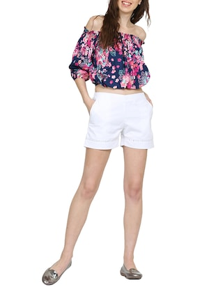 solid white cotton shorts - 15014654 - Standard Image - 4