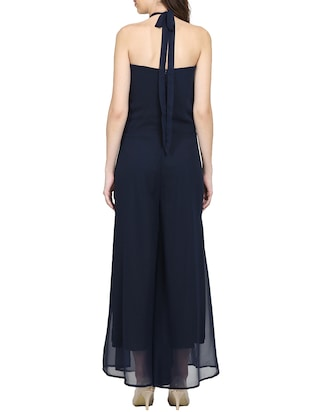 solid navy blue full leg jumpsuit - 15015529 - Standard Image - 4