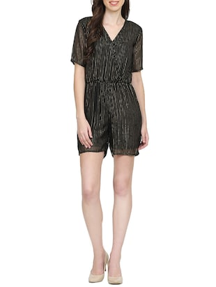 black striped romper jumpsuit - 15015530 - Standard Image - 4