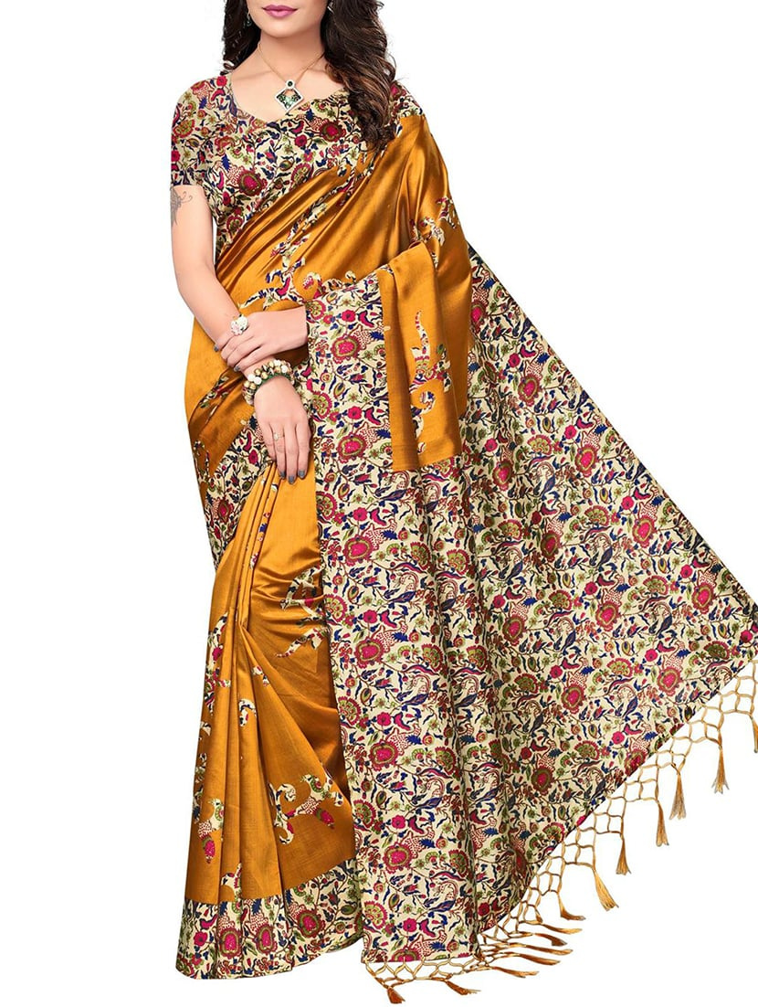 2f58a7c88 Buy Mustard Mysore Silk Saree With Blouse for Women from Ishin for ₹580 at  71% off