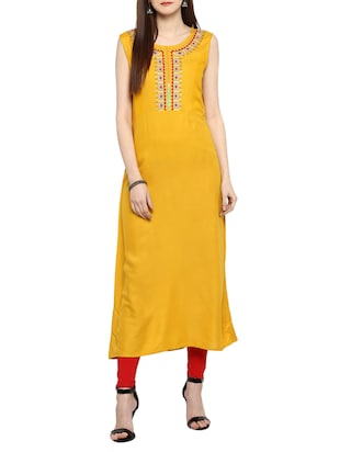 red cotton embroidered layered kurta - 15015977 - Standard Image - 4