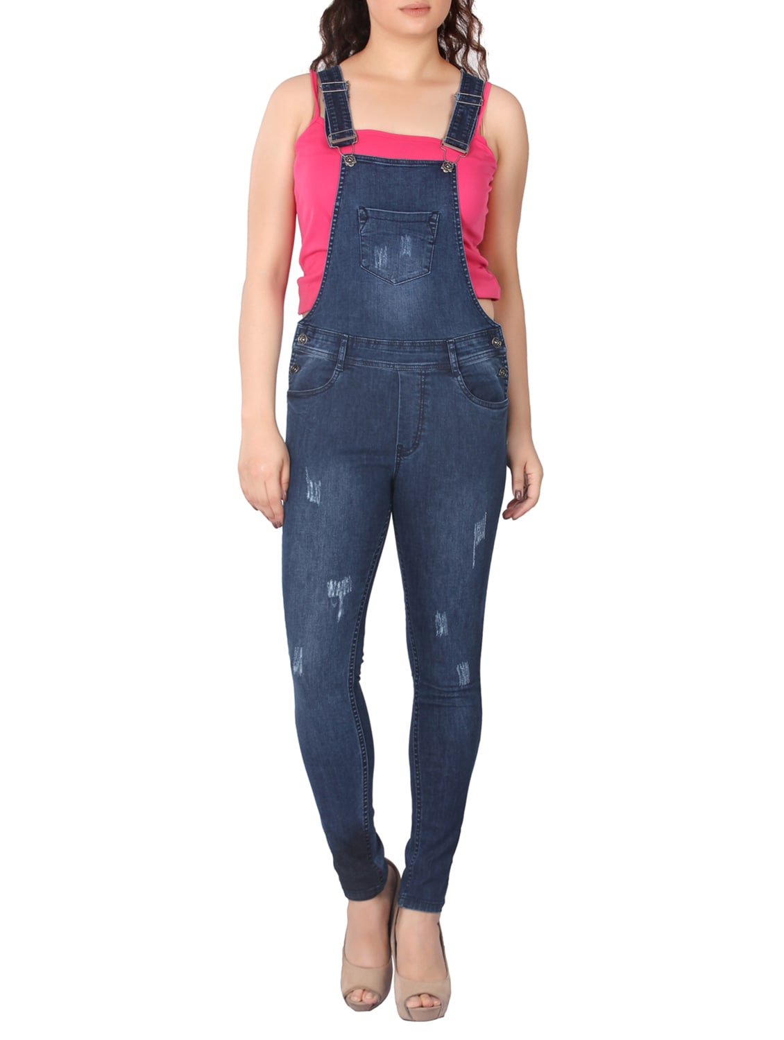 b6764186c4ff Buy Dark Blue Denim Dungree by Fck-3 - Online shopping for Jumpsuits in  India