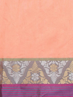 peach cotton silk bordered saree with blouse - 15016833 - Standard Image - 4