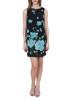 black floral georgette sheath dress - 15017960 - Standard Image - 4