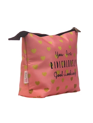 pink satin printed pouch - 15018566 - Standard Image - 4