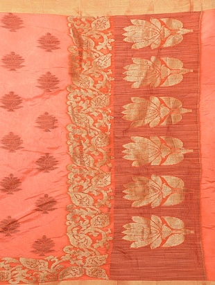peach art silk woven saree with blouse - 15019337 - Standard Image - 4