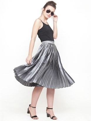 silver solid pleated skirt - 15019750 - Standard Image - 4