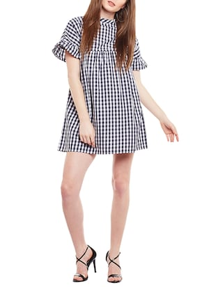 blue checkered cotton shift dress - 15020098 - Standard Image - 4