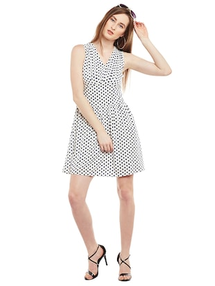white polka doted fit & flare dress - 15020101 - Standard Image - 4