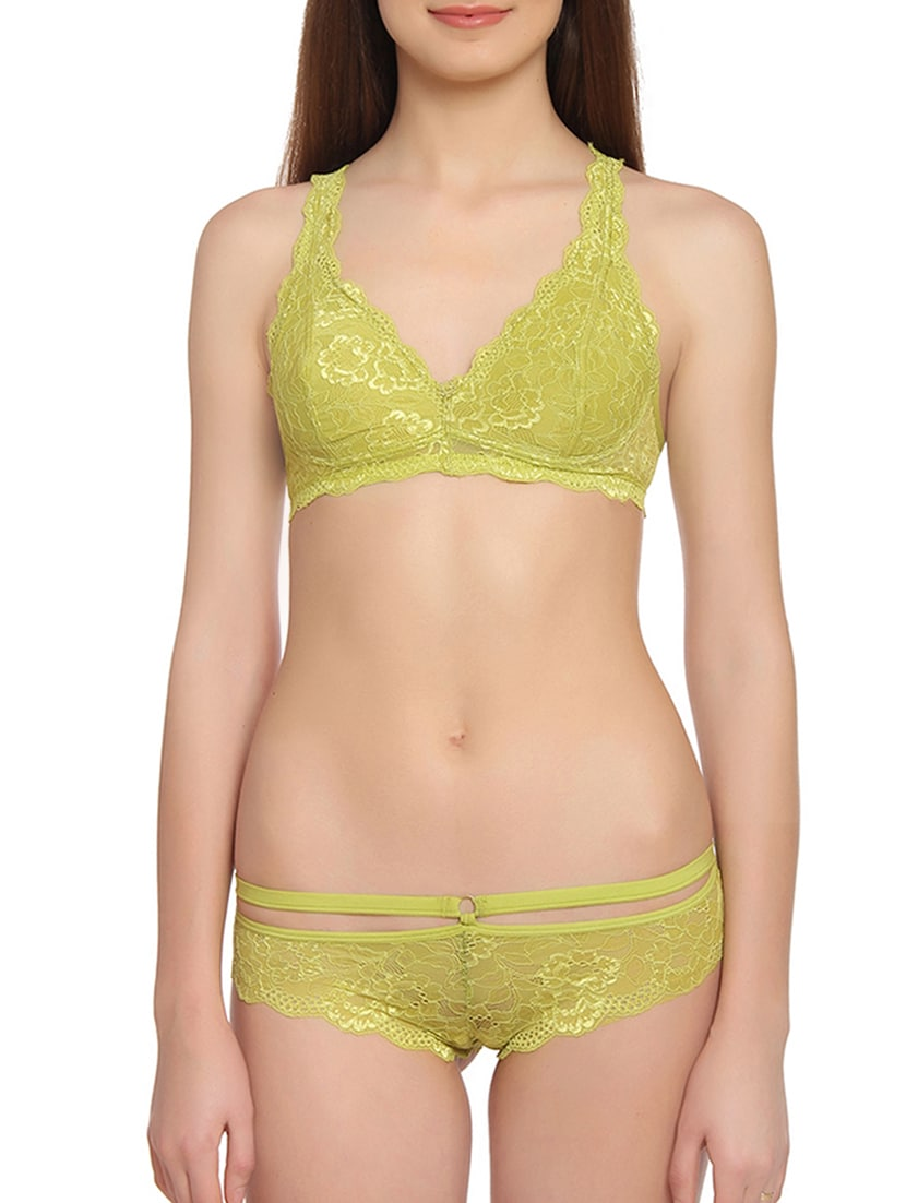 0962a6ae2 Buy Green Solid Nylon Bras And Panty Set for Women from Innocence for ₹779  at 40% off