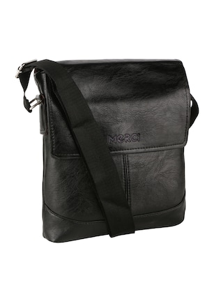 black leatherette  regular sling bag - 15020891 - Standard Image - 4