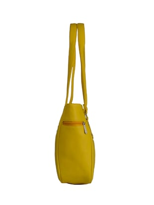 yellow leatherette  regular handbag - 15021099 - Standard Image - 4