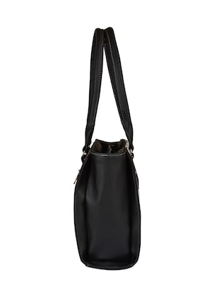 black leatherette regular handbag - 15021118 - Standard Image - 4