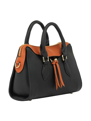 black leatherette  regular handbag - 15021670 - Standard Image - 4