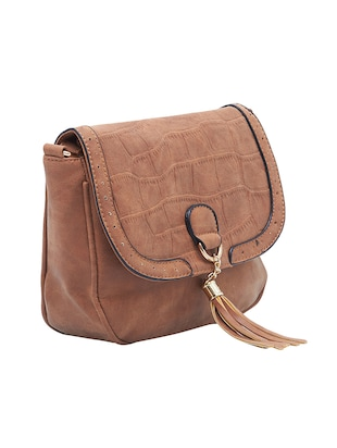 brown leatherette regular sling bag - 15021686 - Standard Image - 4