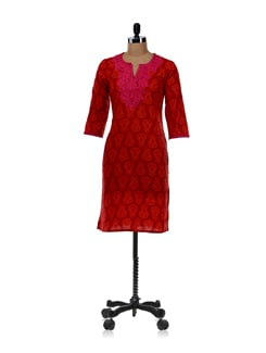 Printed Red-orange Kurta - Cotton Curio