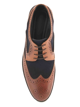 tan Leatherette lace-up derby - 15022924 - Standard Image - 4