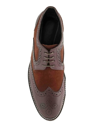 brown Leatherette lace-up derby - 15022925 - Standard Image - 4