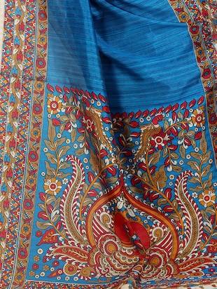 blue cotton printed saree with blouse - 15023464 - Standard Image - 4