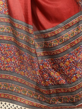 red cotton printed saree with blouse - 15023501 - Standard Image - 4