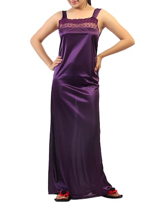 purple solid robe with nighty - 15023775 - Standard Image - 4