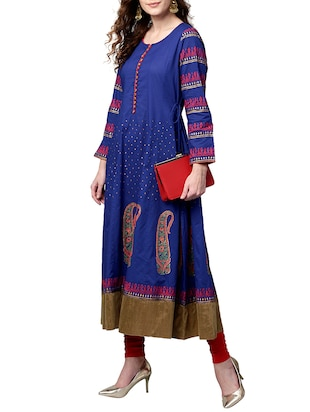 blue cotton anarkali kurta - 15023865 - Standard Image - 4