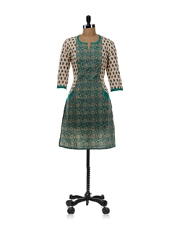 Pista Green Printed Kurta - Cotton Curio