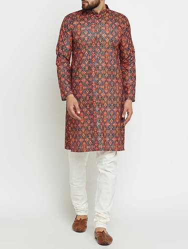 multi colored linen long kurta - 15024125 - Standard Image - 1