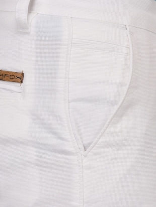 white cotton blend chinos - 15024916 - Standard Image - 4