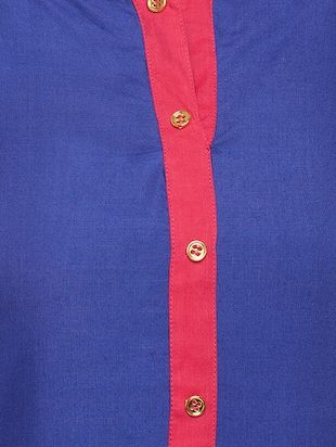 blue cotton straight kurta - 15025568 - Standard Image - 4